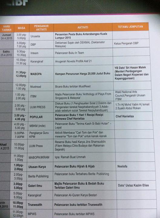PBAKL2015 aktiviti pesta buku antarabangsa kuala lumpur 2015